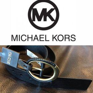 Michael KORS Ladies Round Gold Rim Leather Belt